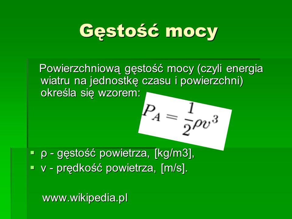 Gęstość mocy Powierzchniową gęstość mocy (czyli energia wiatru na jednostkę czasu i powierzchni) określa się wzorem: Powierzchniową gęstość mocy (czyl