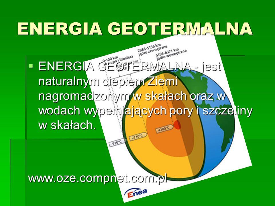 ENERGIA GEOTERMALNA ENERGIA GEOTERMALNA - jest naturalnym ciepłem Ziemi nagromadzonym w skałach oraz w wodach wypełniających pory i szczeliny w skałac