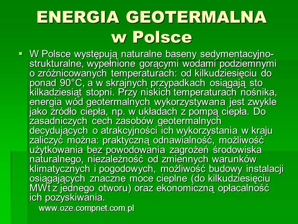 ENERGIA GEOTERMALNA w Polsce W Polsce występują naturalne baseny sedymentacyjno- strukturalne, wypełnione gorącymi wodami podziemnymi o zróżnicowanych