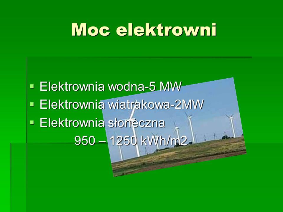 Moc elektrowni Elektrownia wodna-5 MW Elektrownia wodna-5 MW Elektrownia wiatrakowa-2MW Elektrownia wiatrakowa-2MW Elektrownia słoneczna Elektrownia s