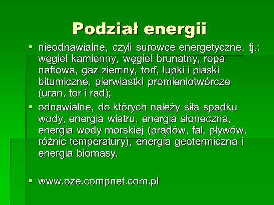 Podział energii nieodnawialne, czyli surowce energetyczne, tj.: węgiel kamienny, węgiel brunatny, ropa naftowa, gaz ziemny, torf, łupki i piaski bitum