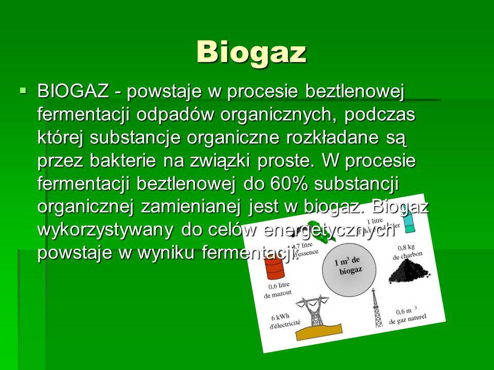 Biogaz BIOGAZ - powstaje w procesie beztlenowej fermentacji odpadów organicznych, podczas której substancje organiczne rozkładane są przez bakterie na