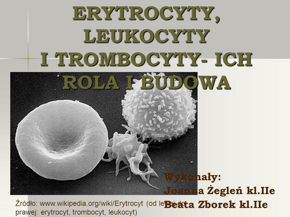ERYTROCYTY, LEUKOCYTY I TROMBOCYTY- ICH ROLA I BUDOWA Wykonały: Joanna Żegleń kl.IIe Beata Zborek kl.IIe Źródło: www.wikipedia.org/wiki/Erytrocyt (od