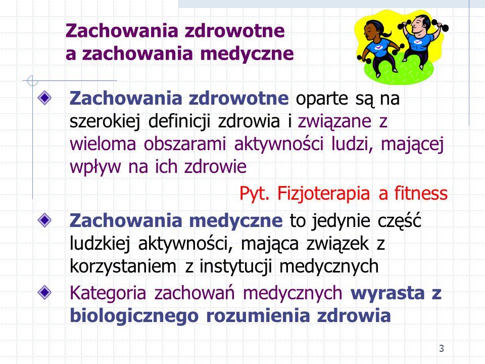 3 Zachowania zdrowotne a zachowania medyczne Zachowania zdrowotne oparte są na szerokiej definicji zdrowia i związane z wieloma obszarami aktywności l