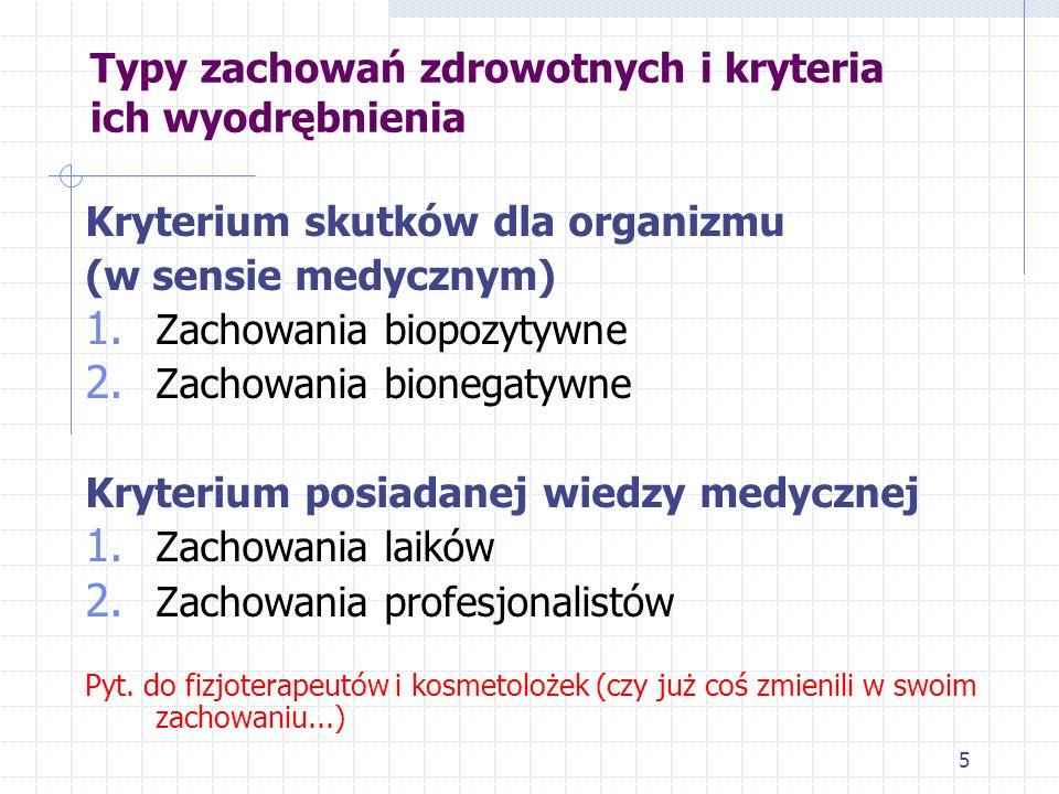5 Kryterium skutków dla organizmu (w sensie medycznym) 1. Zachowania biopozytywne 2. Zachowania bionegatywne Kryterium posiadanej wiedzy medycznej 1.