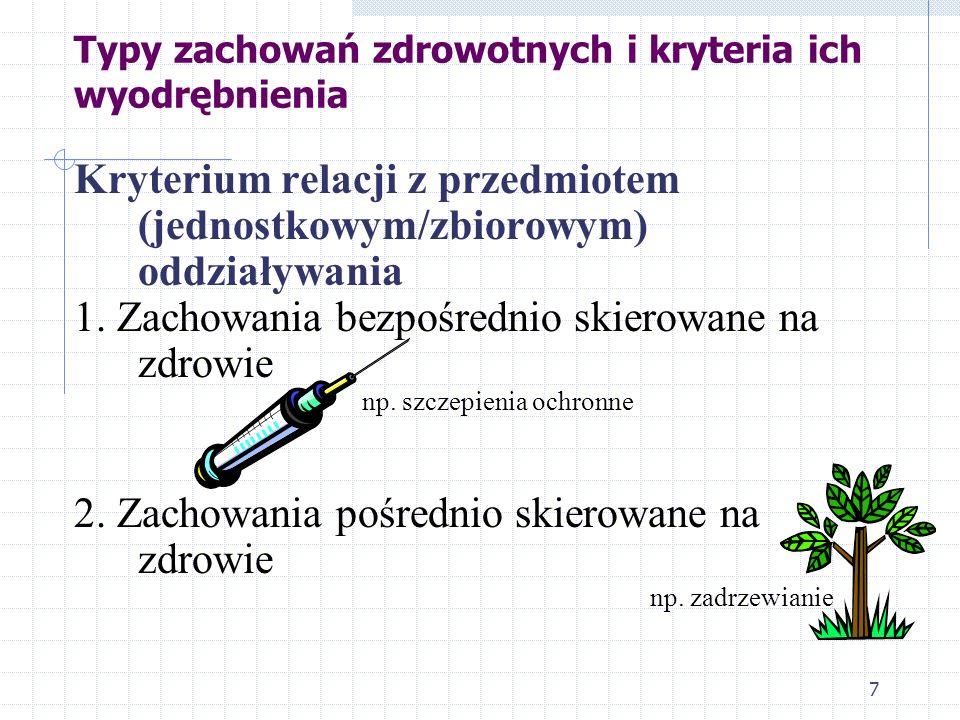 7 Typy zachowań zdrowotnych i kryteria ich wyodrębnienia Kryterium relacji z przedmiotem (jednostkowym/zbiorowym) oddziaływania 1. Zachowania bezpośre