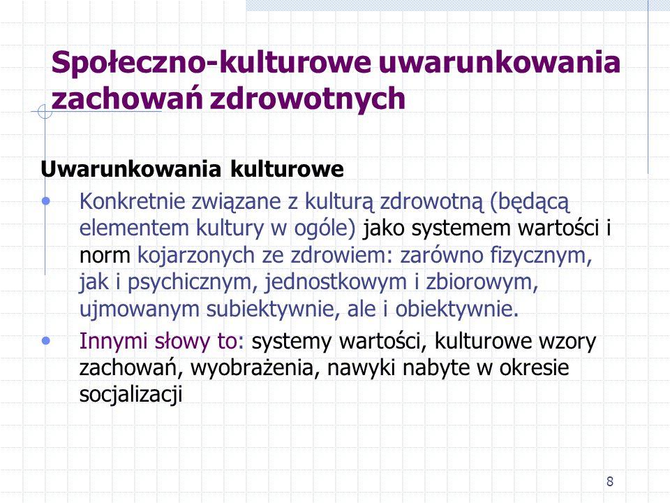 9 Uwarunkowania kulturowe 1.Wyobrażenia o zdrowiu i chorobie 2.
