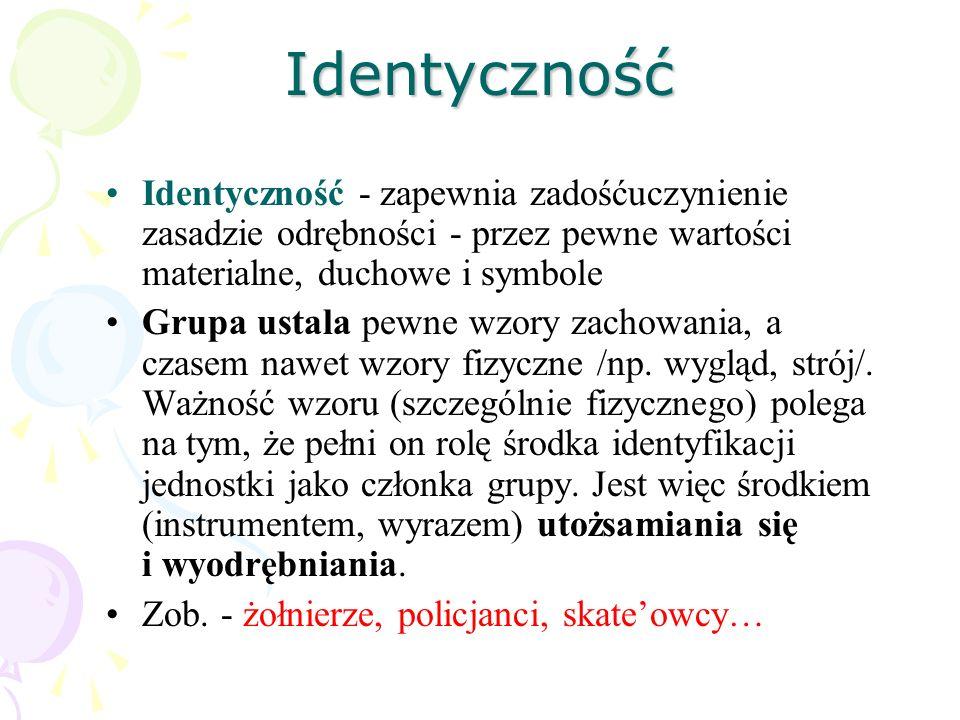 Identyczność Identyczność - zapewnia zadośćuczynienie zasadzie odrębności - przez pewne wartości materialne, duchowe i symbole Grupa ustala pewne wzor