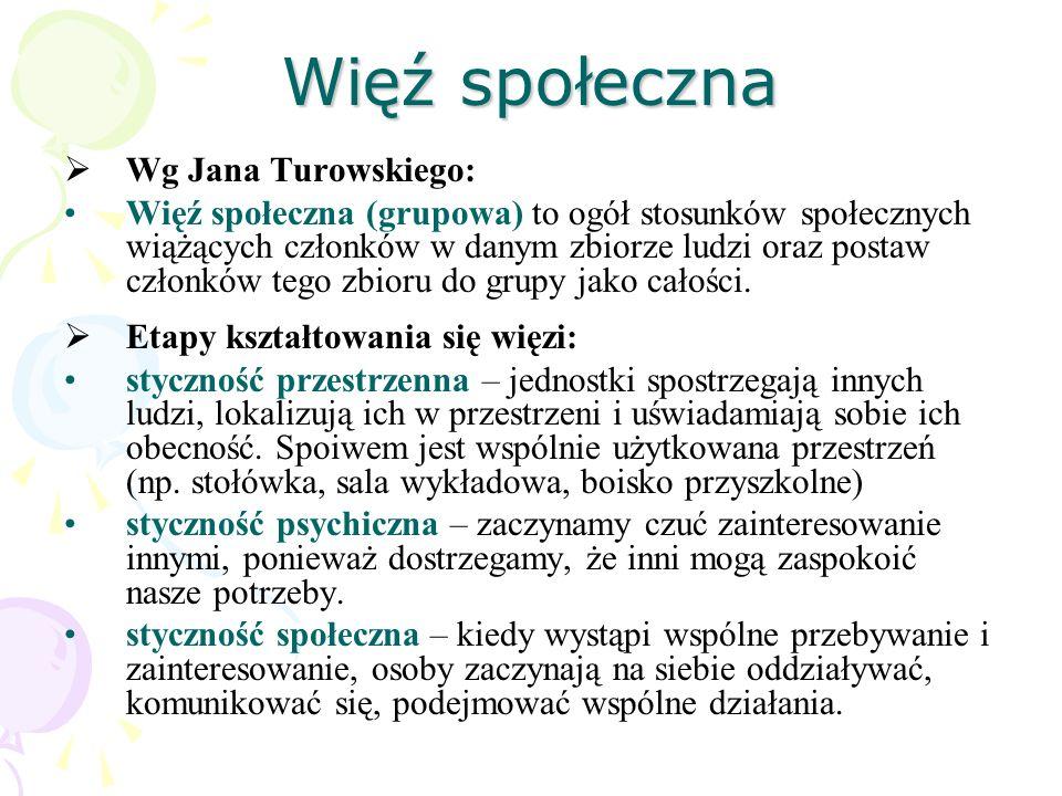 Więź społeczna Wg Jana Turowskiego: Więź społeczna (grupowa) to ogół stosunków społecznych wiążących członków w danym zbiorze ludzi oraz postaw członk