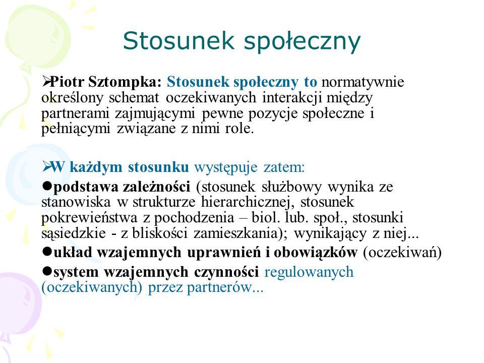 Stosunek społeczny Piotr Sztompka: Stosunek społeczny to normatywnie określony schemat oczekiwanych interakcji między partnerami zajmującymi pewne poz