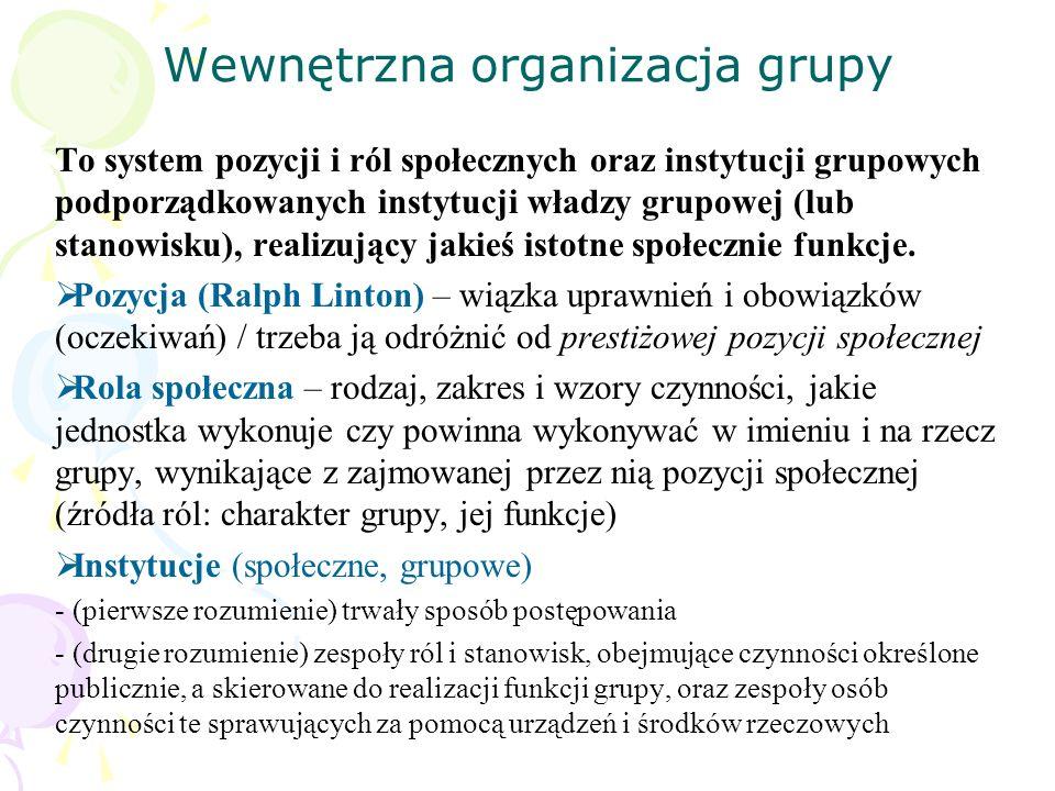 Wewnętrzna organizacja grupy To system pozycji i ról społecznych oraz instytucji grupowych podporządkowanych instytucji władzy grupowej (lub stanowisk