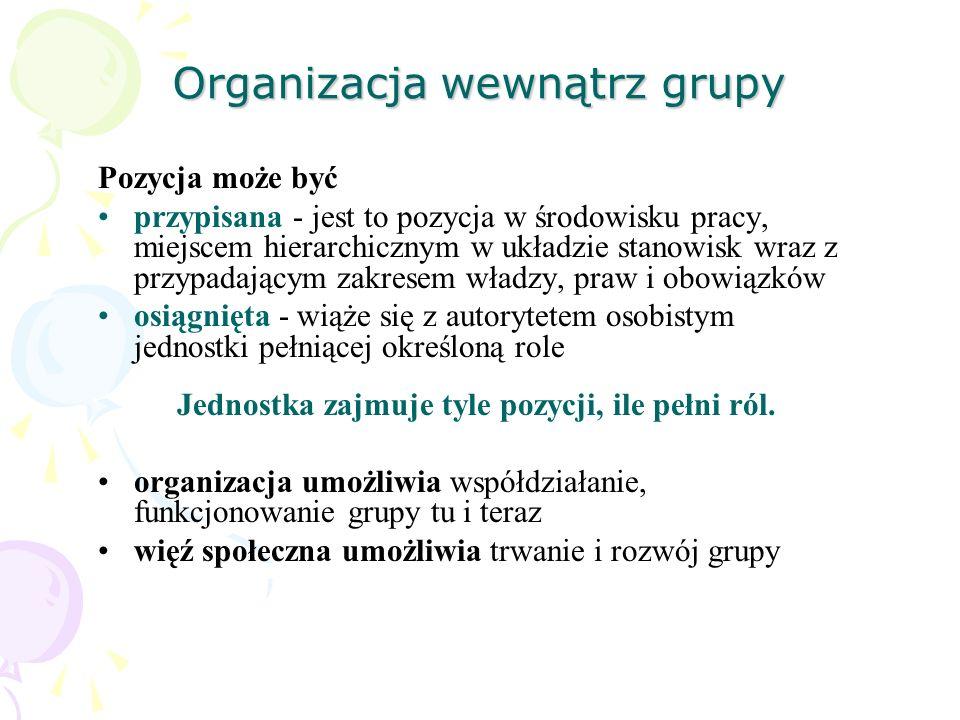 Organizacja wewnątrz grupy Pozycja może być przypisana - jest to pozycja w środowisku pracy, miejscem hierarchicznym w układzie stanowisk wraz z przyp