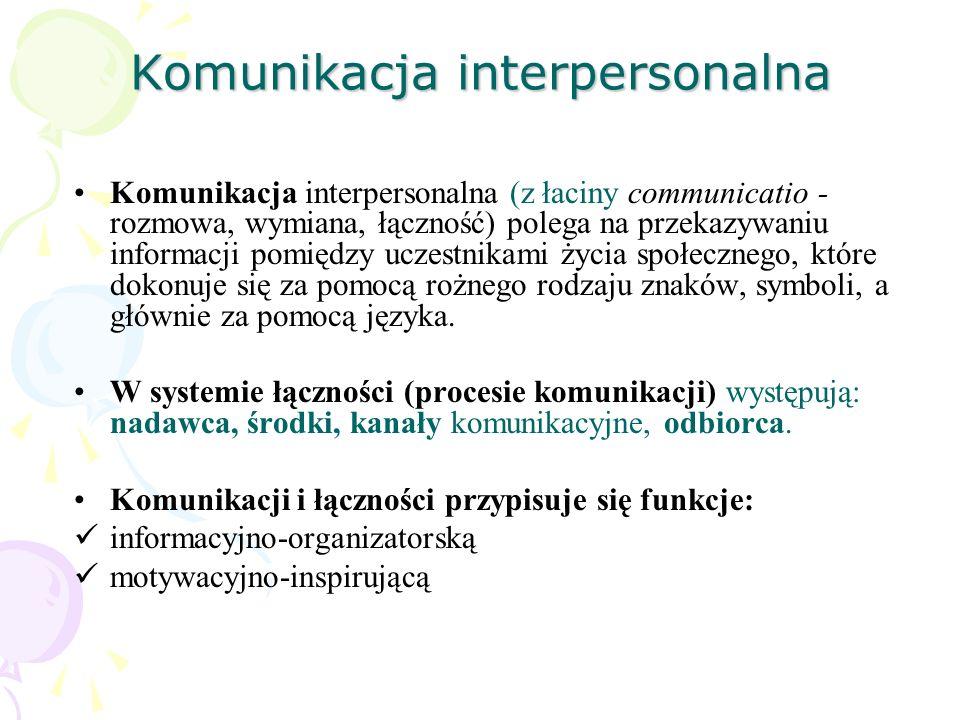 Komunikacja interpersonalna Komunikacja interpersonalna (z łaciny communicatio - rozmowa, wymiana, łączność) polega na przekazywaniu informacji pomięd