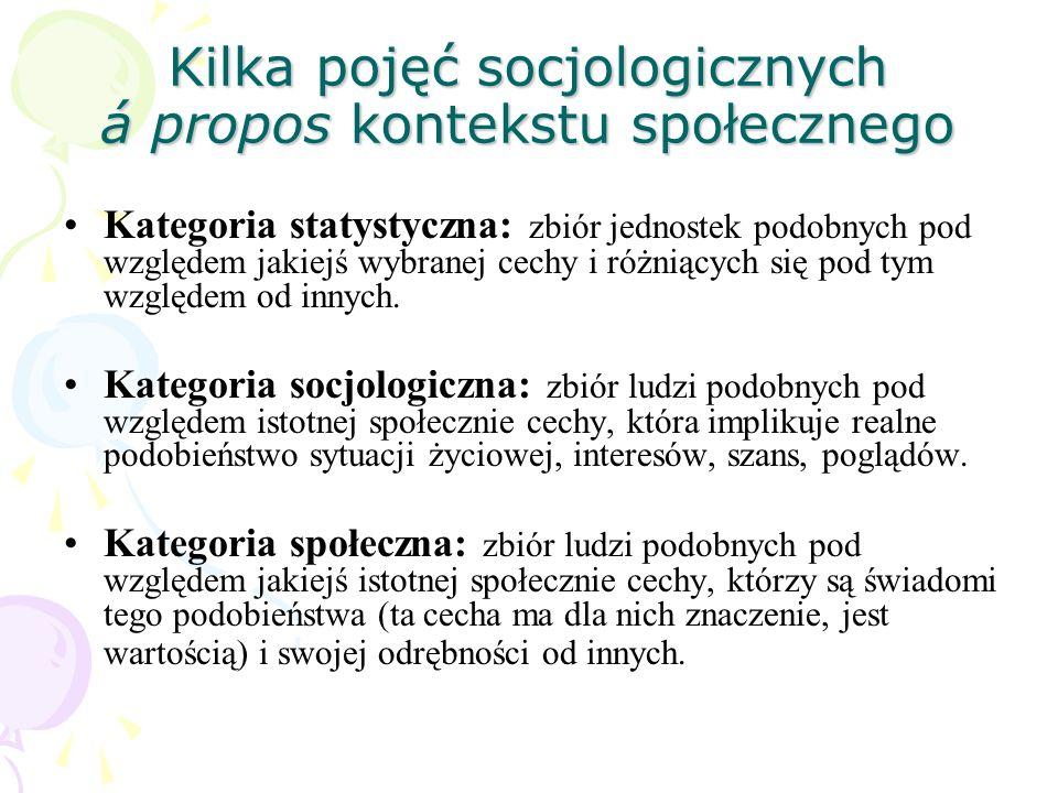 Kilka pojęć socjologicznych á propos kontekstu społecznego Kategoria statystyczna: zbiór jednostek podobnych pod względem jakiejś wybranej cechy i róż