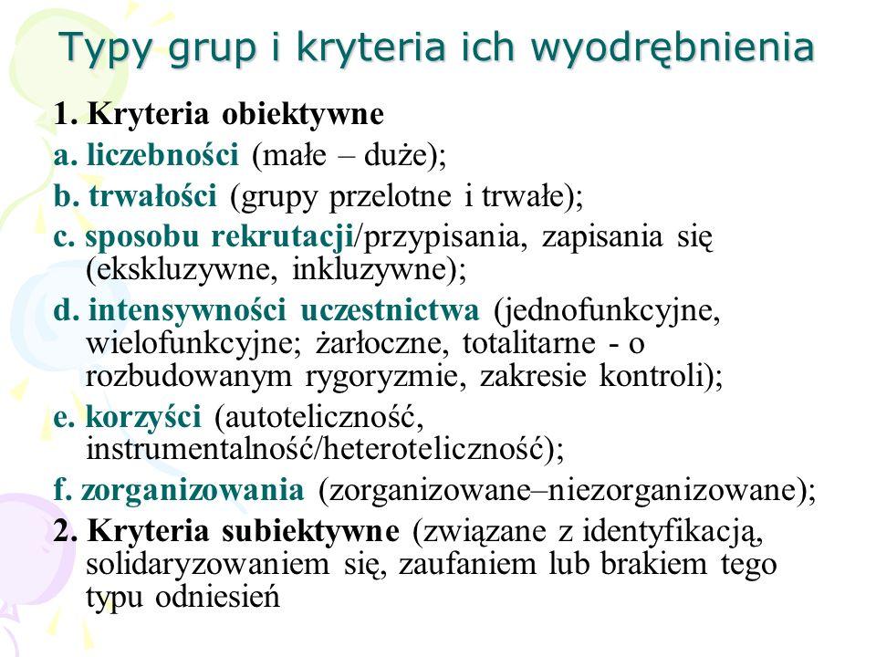 Typy grup i kryteria ich wyodrębnienia 1. Kryteria obiektywne a. liczebności (małe – duże); b. trwałości (grupy przelotne i trwałe); c. sposobu rekrut