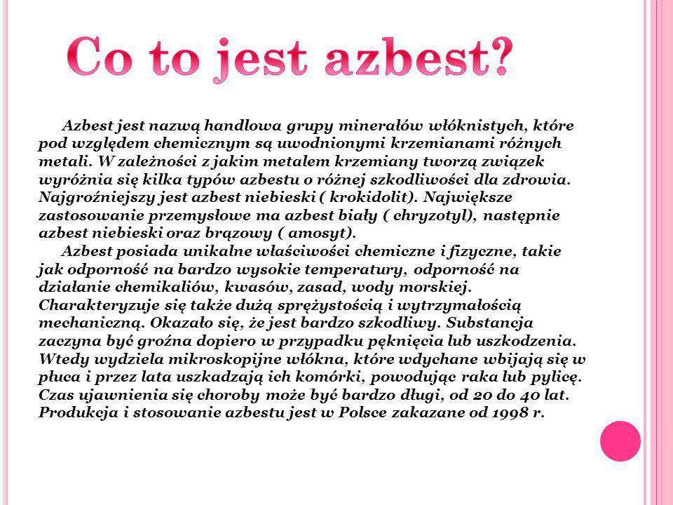 Azbest jest nazwą handlowa grupy minerałów włóknistych, które pod względem chemicznym są uwodnionymi krzemianami różnych metali. W zależności z jakim
