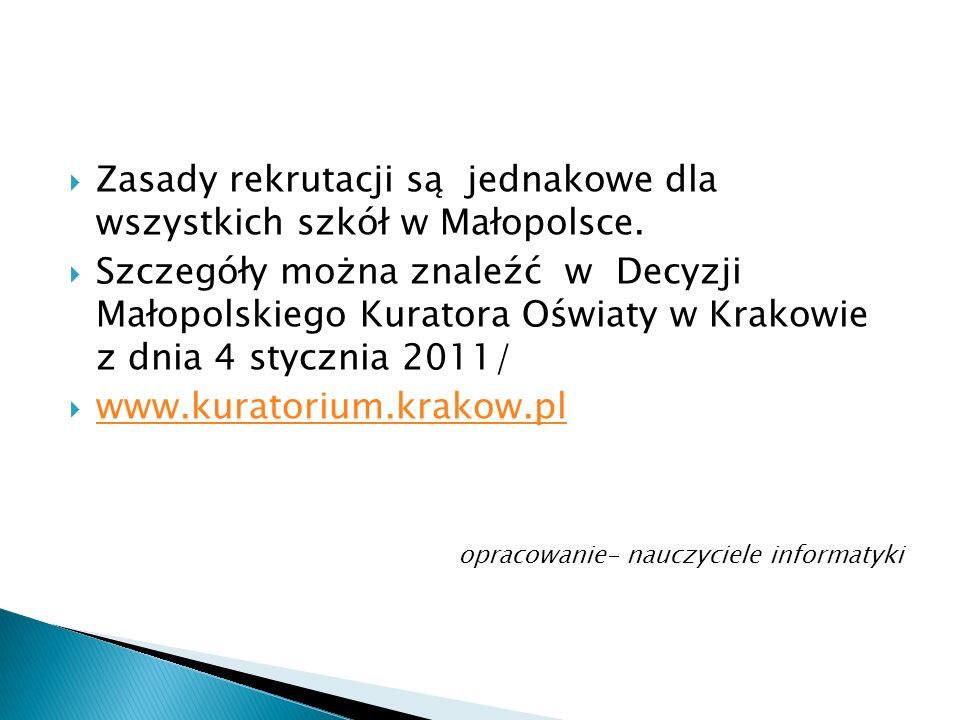 Zasady rekrutacji są jednakowe dla wszystkich szkół w Małopolsce.