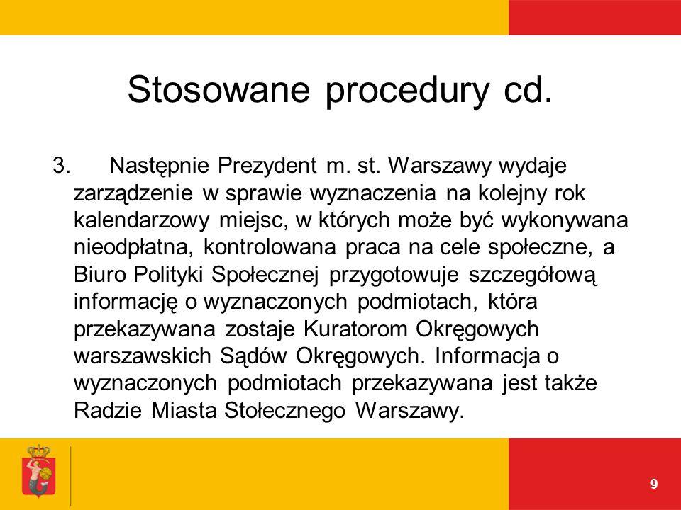 9 Stosowane procedury cd. 3. Następnie Prezydent m.