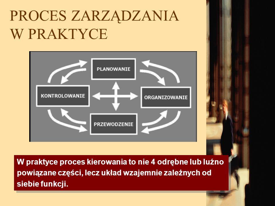 PROCES ZARZĄDZANIA W PRAKTYCE W praktyce proces kierowania to nie 4 odrębne lub luźno powiązane części, lecz układ wzajemnie zależnych od siebie funkc