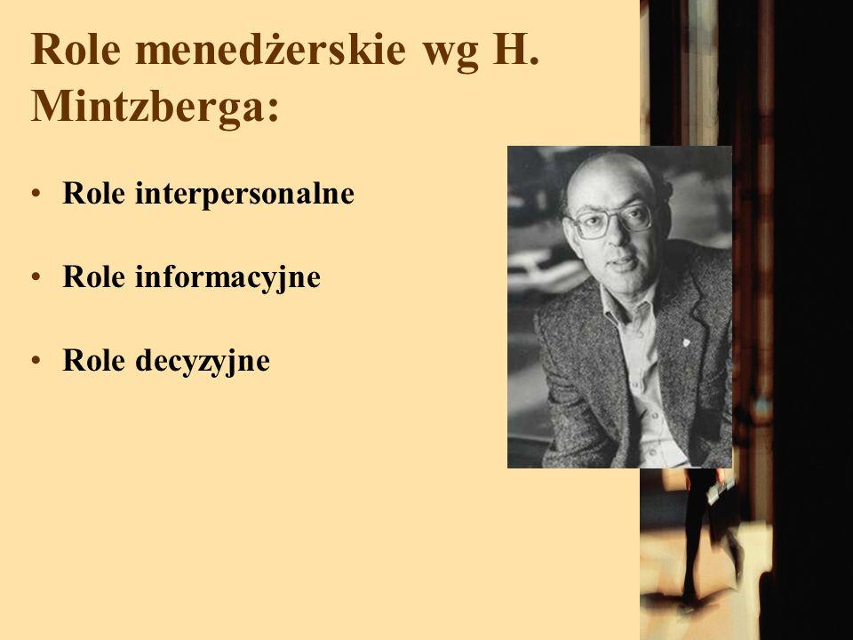 Role menedżerskie wg H. Mintzberga: Role interpersonalne Role informacyjne Role decyzyjne
