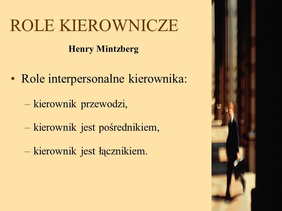 ROLE KIEROWNICZE Role interpersonalne kierownika: –kierownik przewodzi, –kierownik jest pośrednikiem, –kierownik jest łącznikiem. Henry Mintzberg