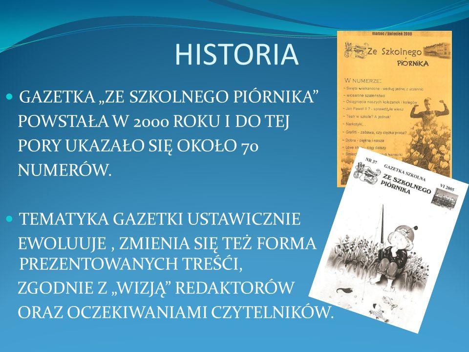 HISTORIA GAZETKA ZE SZKOLNEGO PIÓRNIKA POWSTAŁA W 2000 ROKU I DO TEJ PORY UKAZAŁO SIĘ OKOŁO 70 NUMERÓW.