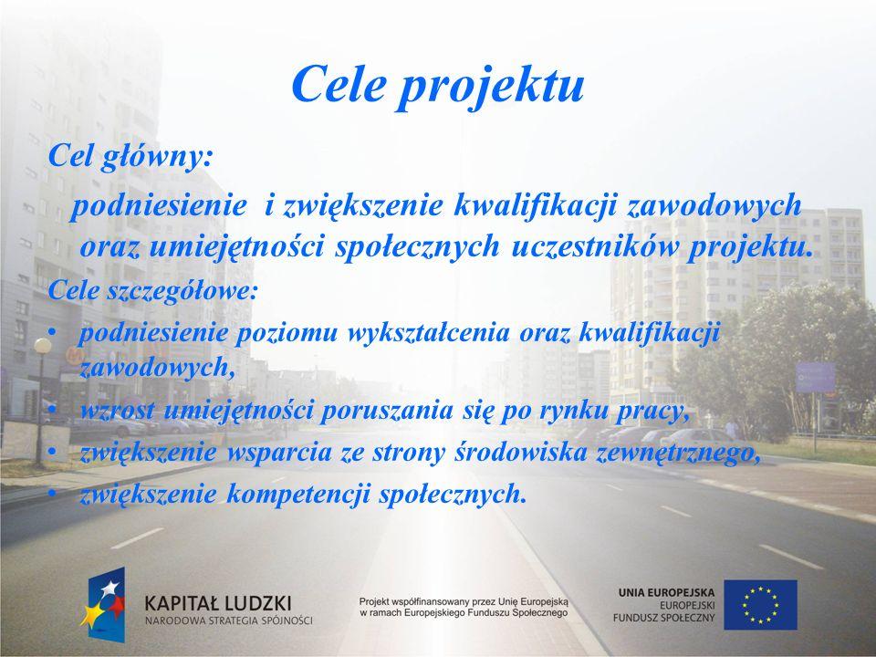 Cele projektu Cel główny: podniesienie i zwiększenie kwalifikacji zawodowych oraz umiejętności społecznych uczestników projektu.