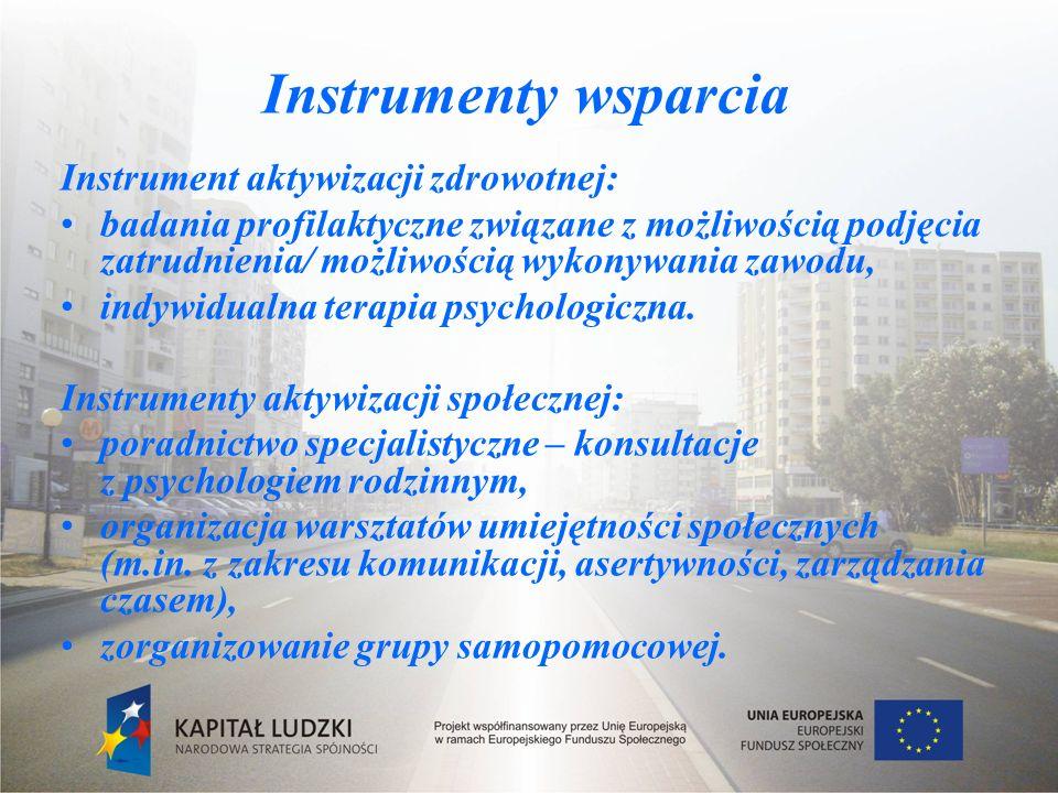 Instrumenty wsparcia Instrument aktywizacji zdrowotnej: badania profilaktyczne związane z możliwością podjęcia zatrudnienia/ możliwością wykonywania zawodu, indywidualna terapia psychologiczna.