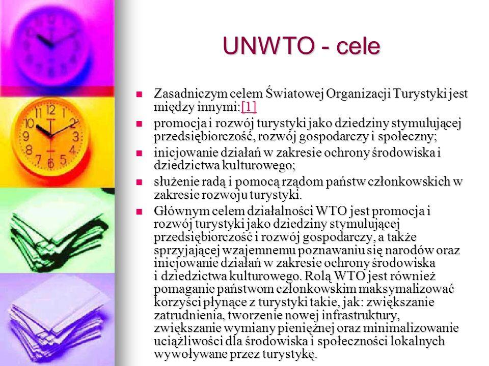 UNWTO - cele Zasadniczym celem Światowej Organizacji Turystyki jest między innymi:[1] Zasadniczym celem Światowej Organizacji Turystyki jest między in