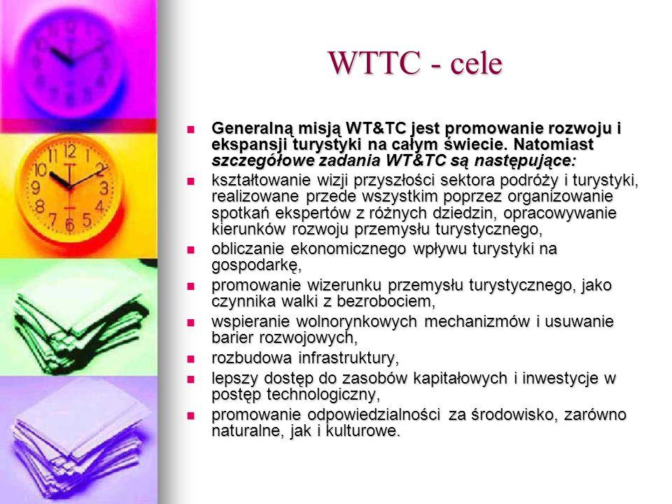 WTTC - cele Generalną misją WT&TC jest promowanie rozwoju i ekspansji turystyki na całym świecie. Natomiast szczegółowe zadania WT&TC są następujące: