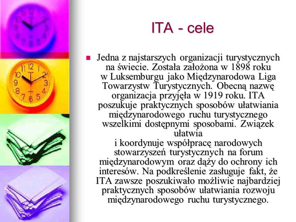 ITA - cele Jedna z najstarszych organizacji turystycznych na świecie. Została założona w 1898 roku w Luksemburgu jako Międzynarodowa Liga Towarzystw T