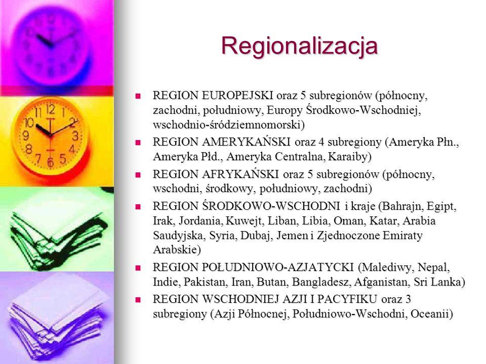 Regionalizacja REGION EUROPEJSKI oraz 5 subregionów (północny, zachodni, południowy, Europy Środkowo-Wschodniej, wschodnio-śródziemnomorski) REGION EU