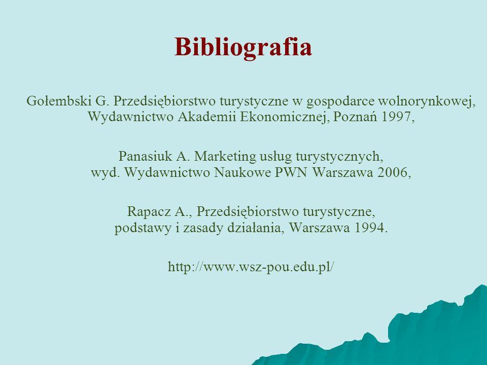 Bibliografia Gołembski G. Przedsiębiorstwo turystyczne w gospodarce wolnorynkowej, Wydawnictwo Akademii Ekonomicznej, Poznań 1997, Panasiuk A. Marketi