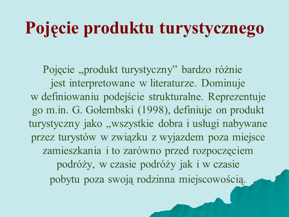 Pojęcie produktu turystycznego Pojęcie produkt turystyczny bardzo różnie jest interpretowane w literaturze. Dominuje w definiowaniu podejście struktur