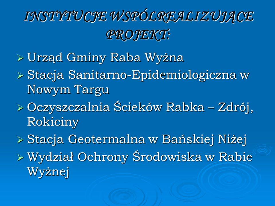 INSTYTUCJE WSPÓLREALIZUJĄCE PROJEKT: Urząd Gminy Raba Wyżna Urząd Gminy Raba Wyżna Stacja Sanitarno-Epidemiologiczna w Nowym Targu Stacja Sanitarno-Ep