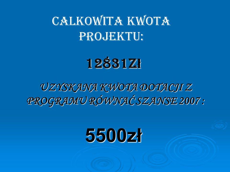 UZYSKANA KWOTA DOTACJI Z PROGRAMU RÓWNAĆ SZANSE 2007 : 5500zł CALKOWITA KWOTA PROJEKTU: 12831z ł
