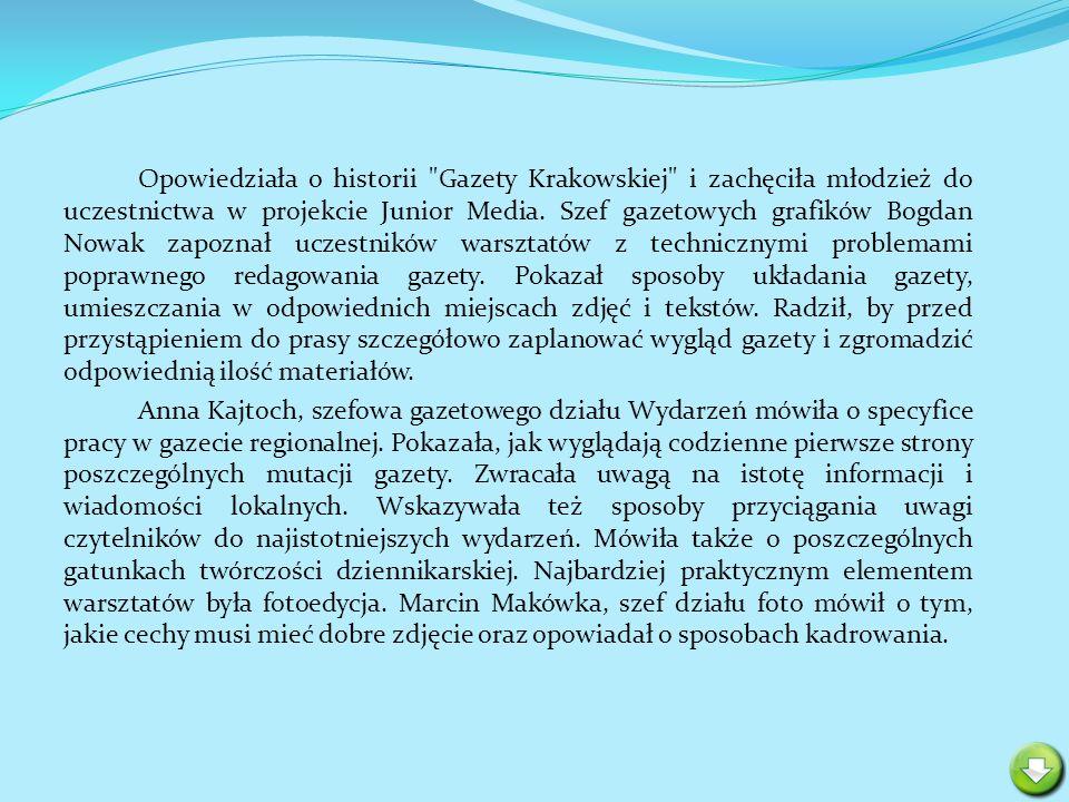 Przebojem warsztatów było zaproszenie na zaimprowizowaną konferencję prasową z naszą czołową biegaczką narciarską Justyną Kowalczyk.