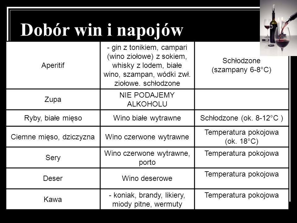 Dobór win i napojów Aperitif - gin z tonikiem, campari (wino ziołowe) z sokiem, whisky z lodem, białe wino, szampan, wódki zwł. ziołowe. schłodzone Sc