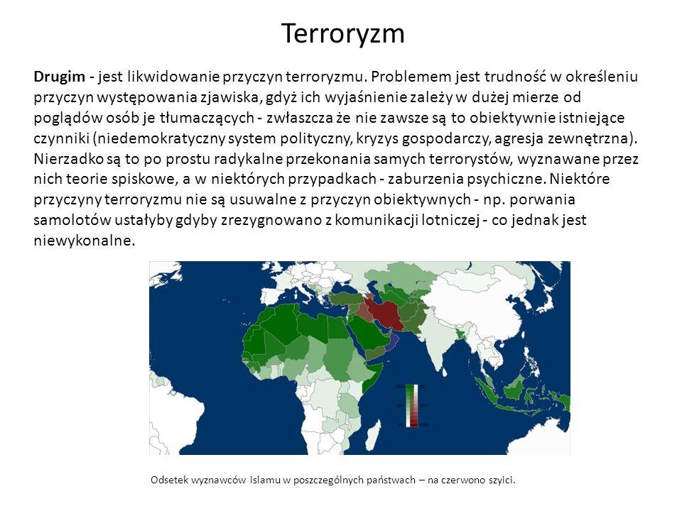 Drugim - jest likwidowanie przyczyn terroryzmu. Problemem jest trudność w określeniu przyczyn występowania zjawiska, gdyż ich wyjaśnienie zależy w duż