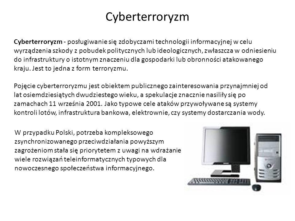 Cyberterroryzm - posługiwanie się zdobyczami technologii informacyjnej w celu wyrządzenia szkody z pobudek politycznych lub ideologicznych, zwłaszcza