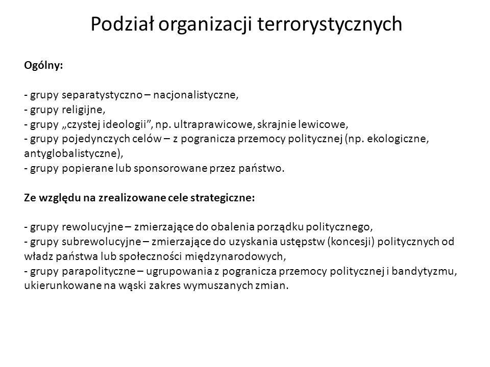 Podział organizacji terrorystycznych Ogólny: - grupy separatystyczno – nacjonalistyczne, - grupy religijne, - grupy czystej ideologii, np. ultraprawic