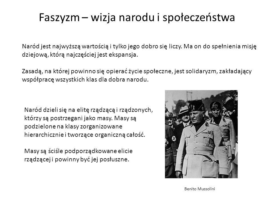 Faszyzm – wizja państwa i gospodarki Faszyzm zakłada kult państwa.