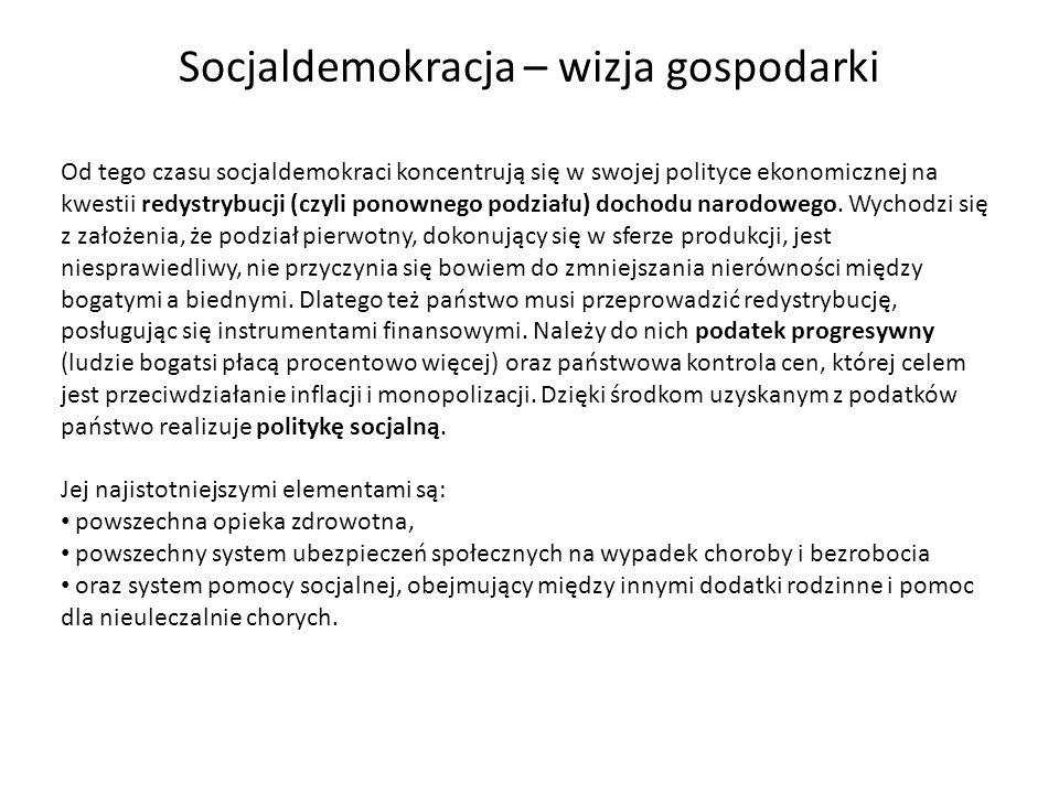 Od tego czasu socjaldemokraci koncentrują się w swojej polityce ekonomicznej na kwestii redystrybucji (czyli ponownego podziału) dochodu narodowego. W