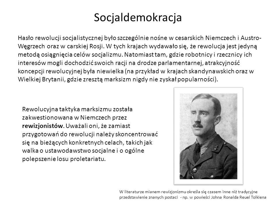 Socjaldemokracja Hasło rewolucji socjalistycznej było szczególnie nośne w cesarskich Niemczech i Austro- Węgrzech oraz w carskiej Rosji. W tych krajac