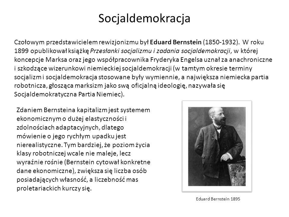 Czołowym przedstawicielem rewizjonizmu był Eduard Bernstein (1850-1932). W roku 1899 opublikował książkę Przesłanki socjalizmu i zadania socjaldemokra