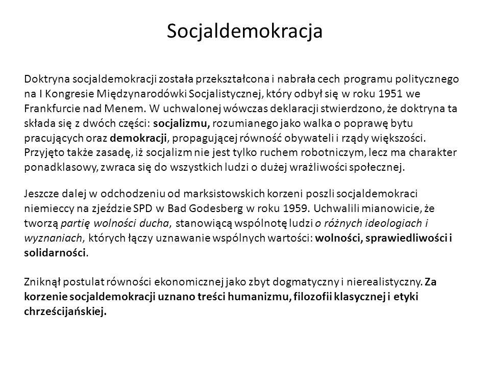 W latach sześćdziesiątych socjaldemokraci poparli powstałą w środowisku intelektualnym koncepcję państwa dobrobytu (welfare state).