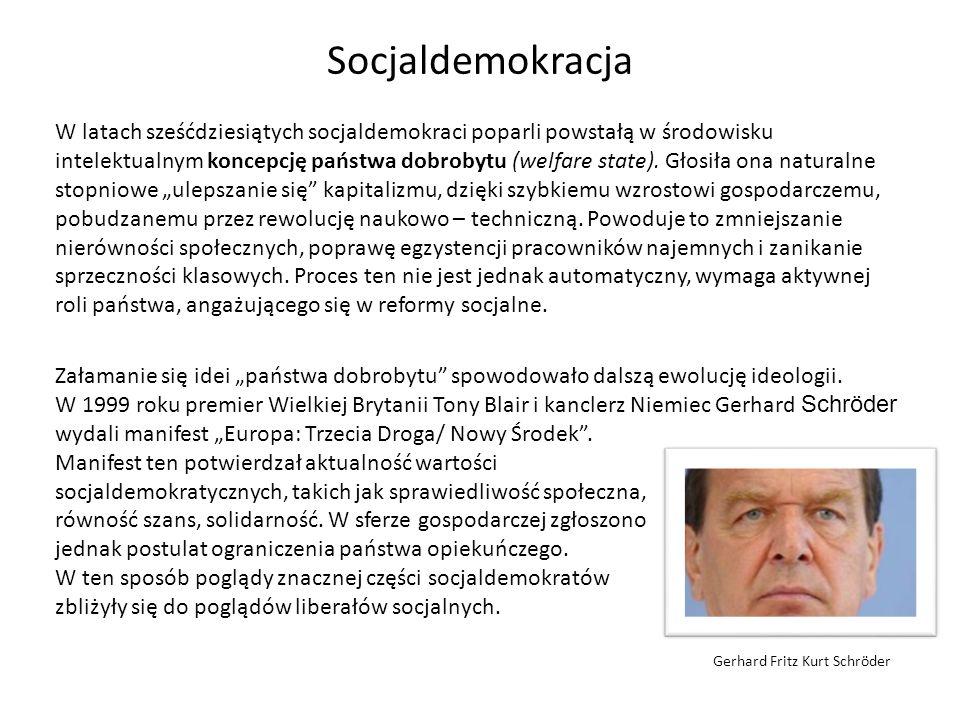 Socjaldemokracja – wizja człowieka i społeczeństwa Socjaldemokracja zakłada pozytywną wizję człowieka, który jest pozbawiony wad, dysponuje ogromnym potencjałem.