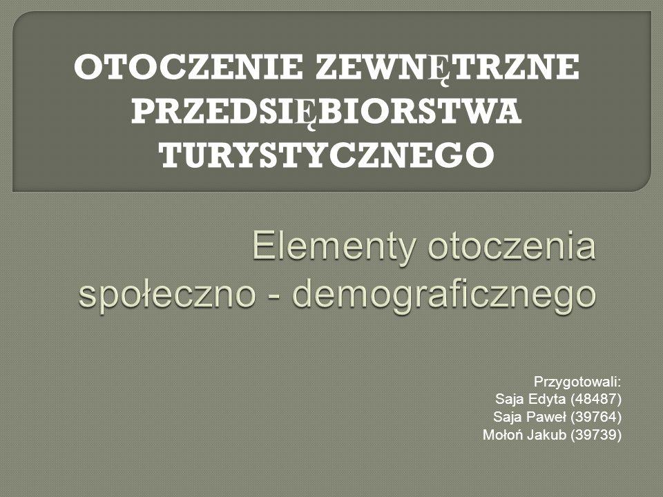Przygotowali: Saja Edyta (48487) Saja Paweł (39764) Mołoń Jakub (39739) OTOCZENIE ZEWN Ę TRZNE PRZEDSI Ę BIORSTWA TURYSTYCZNEGO