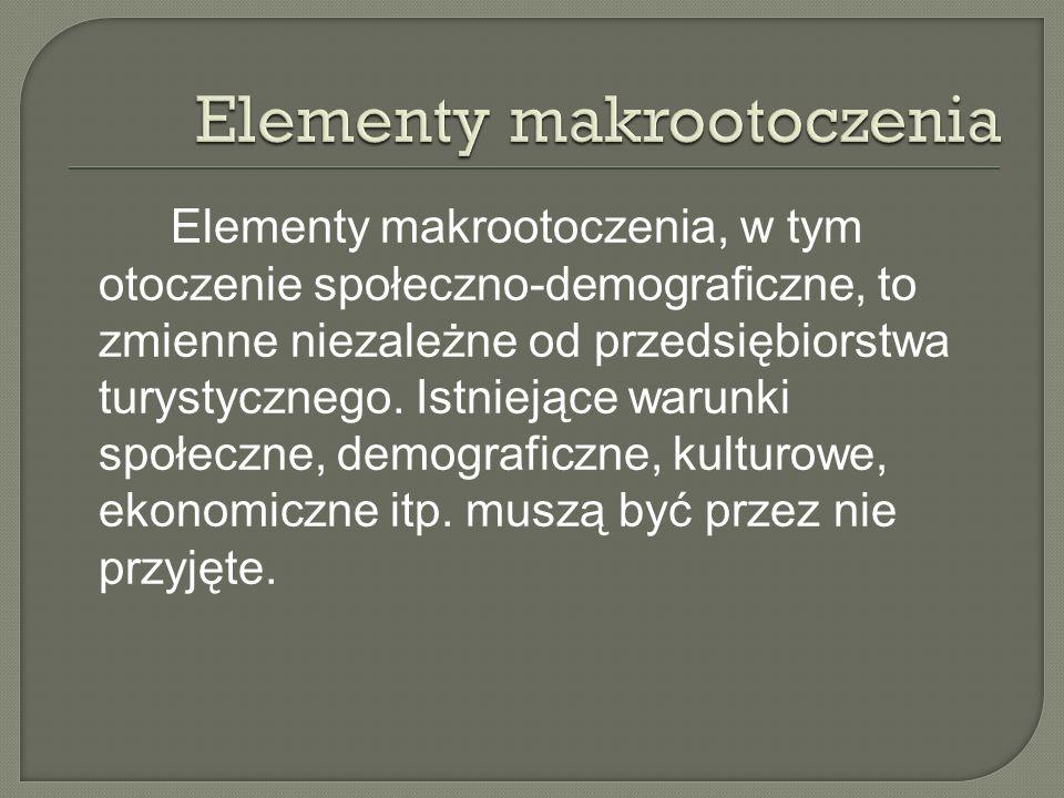 Elementy makrootoczenia, w tym otoczenie społeczno-demograficzne, to zmienne niezależne od przedsiębiorstwa turystycznego.