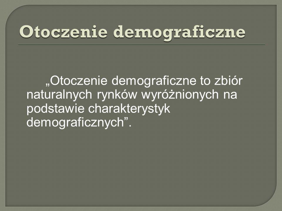 Otoczenie demograficzne to zbiór naturalnych rynków wyróżnionych na podstawie charakterystyk demograficznych.